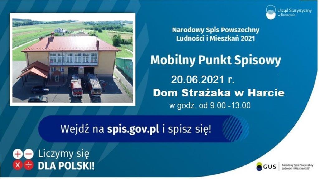 Mobilny Punkt Spisowy – 20.06.2021 w Domu Strażaka w  Harcie.